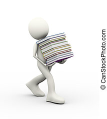 3d man carrying pile of books
