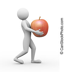 3d man carrying red apple illustration