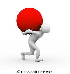 3d man carrying sphere