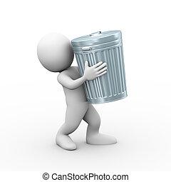 3d man carrying trash can bin