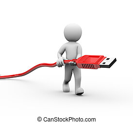 3d man carrying usb connector - 3d rendering of man carrying...