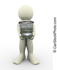 3d man carrying waste basket. 3d illustration of human ...