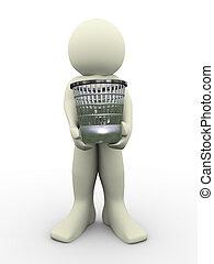 3d man carrying waste basket. 3d illustration of human ...