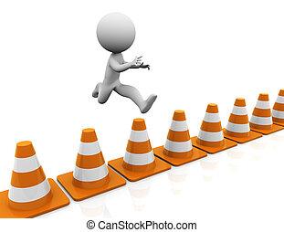 3d man challenge jump - 3d man jumping over traffic cones