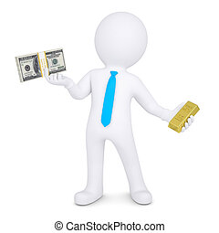 3d man changes the gold for cash