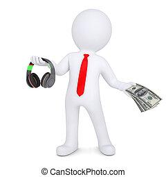 3d man changes the headphones on the money