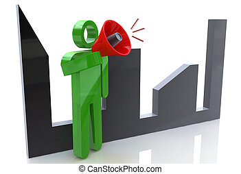 3d man character talking in a megaphone with cityscape on the background