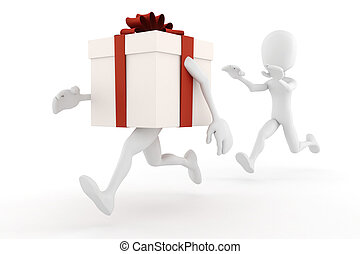 3d man chaseing a present box