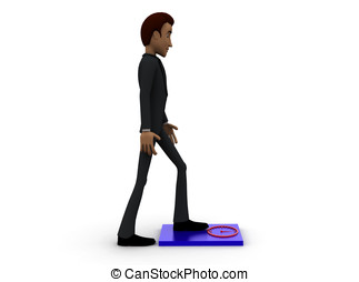 3d man checking weight on weighing scale concept