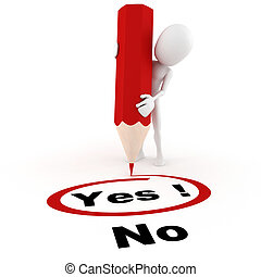 3d man chooseing between yes and no