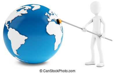 3d man cleaning globe with broom - 3d man cleaning globe...