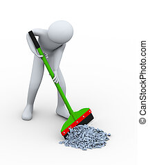 3d man cleaning trash with wiper