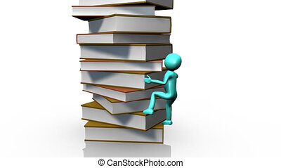 3D man climbing a pile of books against a white background