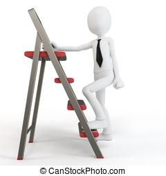 3d man climbing a small ladder