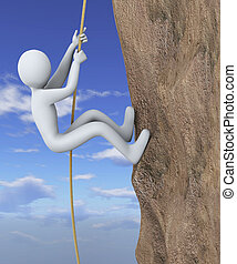 3d man climbing mountain