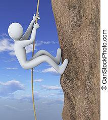 3d man climbing mountain