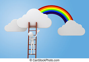 3d man climbing on a ladder, clouds and rainbow competitive...