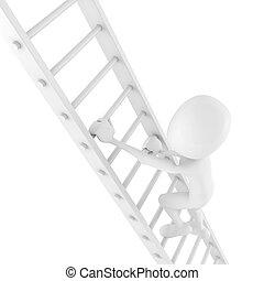 3d man climbing on a ladder