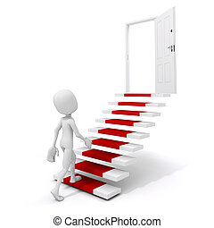 3d man climbing on a stair to success