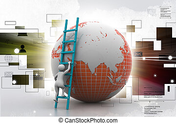 3d man climbing the Globe with the help of ladder