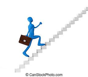 3d man climbing the ladder