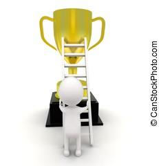 3d man climbing to reach  inside golden cup using ladder concept
