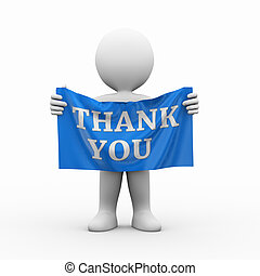 3d man cloth banner thank you