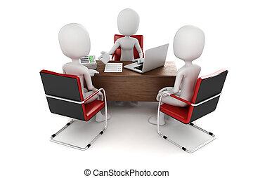 3d, man, commerciële vergadering, sollicitatiegesprek