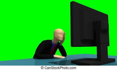 3d-man, con, uno, desktop