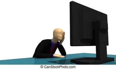 3d-man, con, uno, laptop