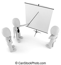 3d man, conference, standing near a blank board