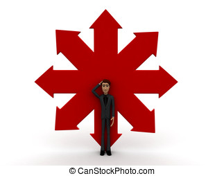 3d man confused about different directions concept