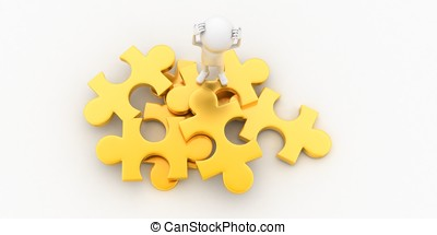 3d man confused and standing on puzzle concept