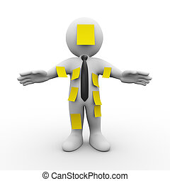3d man cover with sticky notes