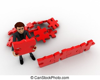 3d man creating wall with jigsaw puzzle pieces concept