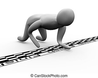 3D man crosses the finish line crawling. High Resolution 3D ...