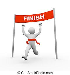 3d man crossing finish line - 3d illustration of running...