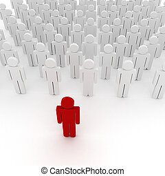 3d man crowd business organization