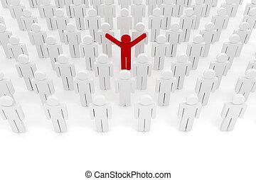 3d man crowd business organization
