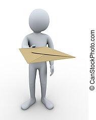 3d man delivering mail