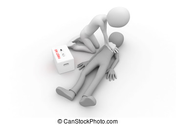 3d man doing CPR - 3d man doing cpr first aid
