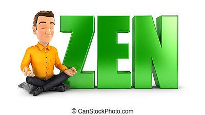 3d man doing meditation next to the word zen