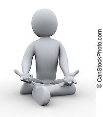 3d man doing yoga