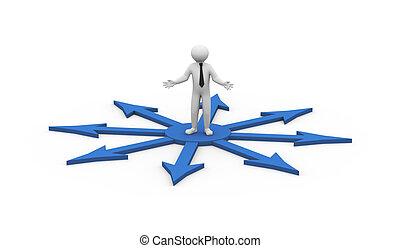 3d man doubtful about decision - 3d illustration of...