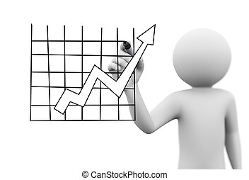 3d man drawing rising arrow growth chart