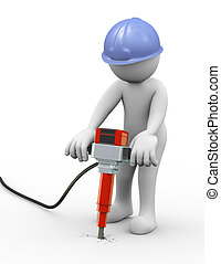 3d man drilling with jackhammer