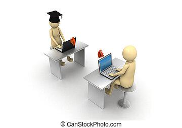 3d man e-learning, on white