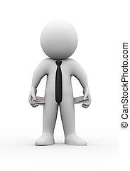 3d man empty pocket no money - 3d illustration of...