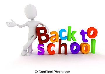 """3d, man, en, """"back, om te, school"""", tekst, op wit, achtergrond"""