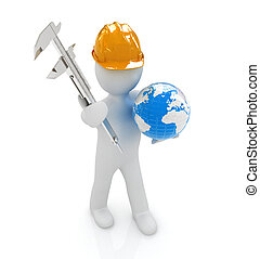 3d man engineer in hard hat with vernier caliper and Earth...